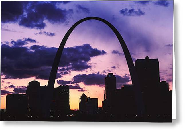 Gateway Arch Greeting Cards - Downtown Buildings And Gateway Arch Greeting Card by Panoramic Images