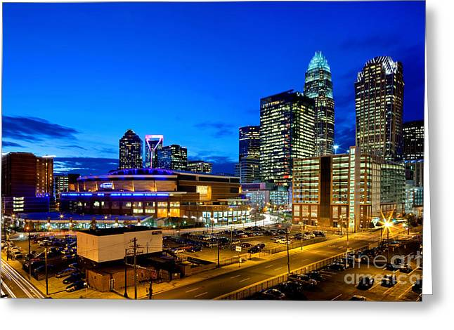 Dnc Greeting Cards - Downtown Charlotte skyline with blue sky at dusk Greeting Card by Patrick Schneider