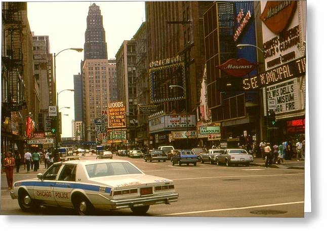 Top Seller Greeting Cards - Downtown Chicago 1980 - City Color Photo Greeting Card by Peter Fine Art Gallery  - Paintings Photos Digital Art