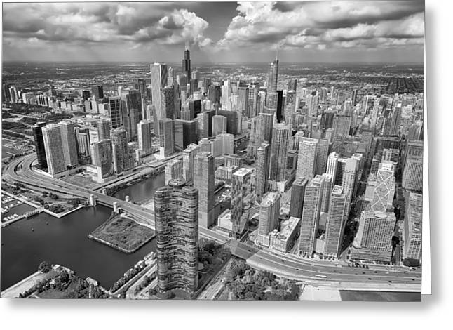 Cave Greeting Cards - Downtown Chicago Aerial Black and White Greeting Card by Adam Romanowicz