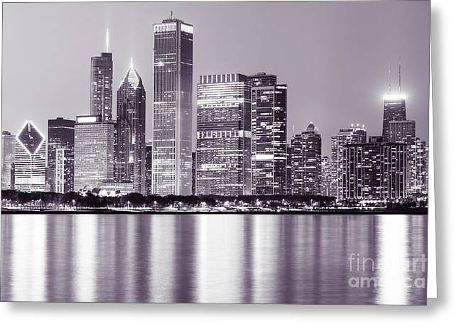 Chicago Loop Greeting Cards - Downtown Chicago City Skyline at Night   Greeting Card by Paul Velgos