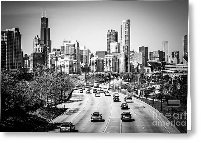 Highway Greeting Cards - Downtown Chicago Lake Shore Drive in Black and White Greeting Card by Paul Velgos