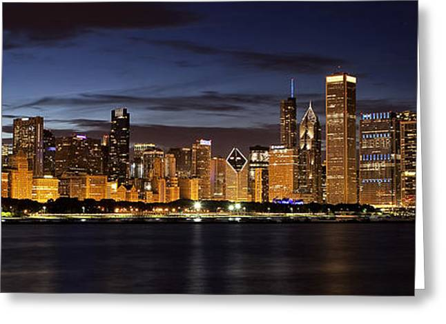 View. Chicago Greeting Cards - Downtown Chicago Panorama Greeting Card by Andrew Soundarajan