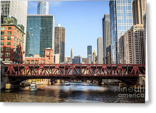Architecture Greeting Cards - Downtown Chicago Skyline at Wells Street Bridge Greeting Card by Paul Velgos