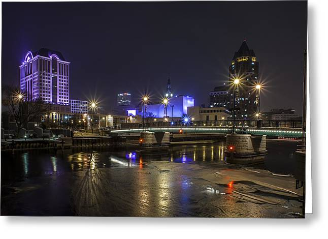 40mm Greeting Cards - Downtown Chill Greeting Card by CJ Schmit