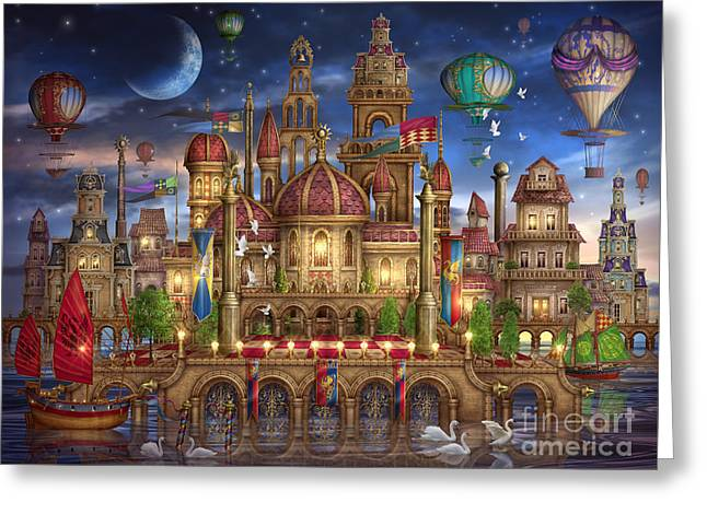 Mysterious Digital Greeting Cards - Downtown Greeting Card by Ciro Marchetti