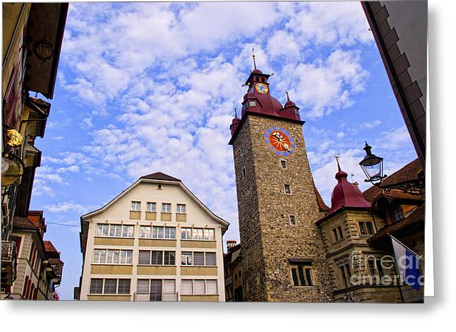 Luzern Greeting Cards - Downtown City Scene Of Lucerne Greeting Card by Bill Bachmann