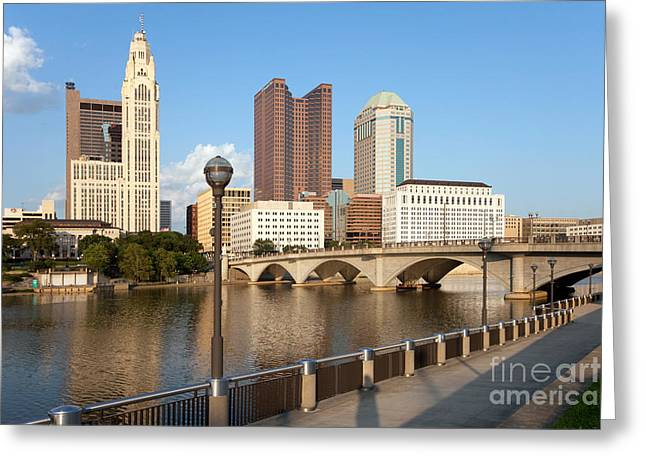 Downtown Genoa Greeting Cards - Downtown Columbus Ohio Skyline Greeting Card by Bill Cobb