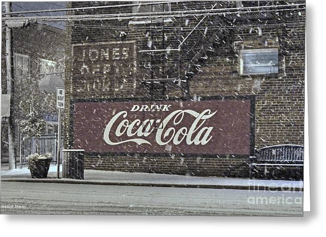 Coca-cola Mural Greeting Cards - Downtown Covered in Snow Greeting Card by Benanne Stiens