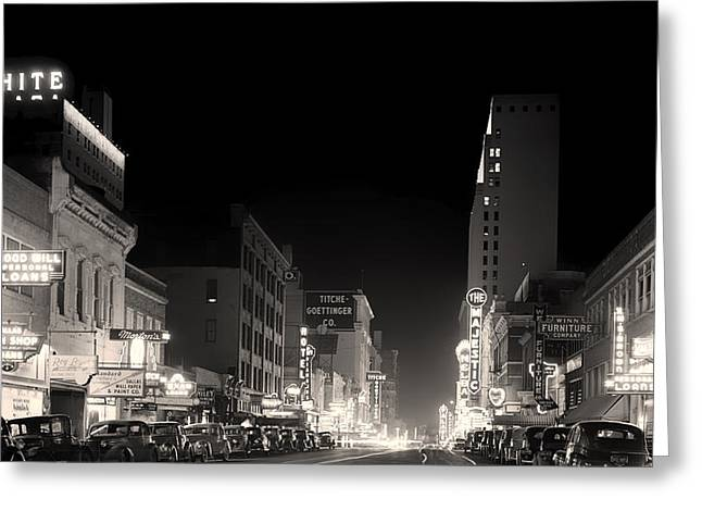 Recently Sold -  - City Lights Greeting Cards - Downtown Dallas 1942 Greeting Card by Mountain Dreams