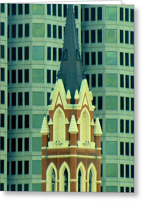 Downtown Dallas Greeting Card by Janette Boyd