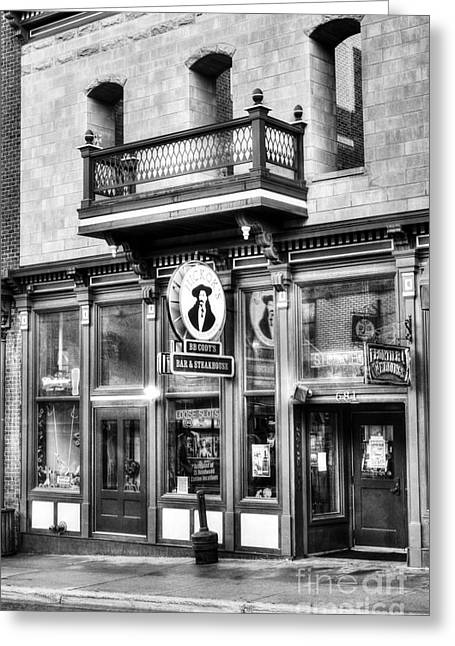 Hickok Greeting Cards - Downtown Deadwood 5 BW Greeting Card by Mel Steinhauer