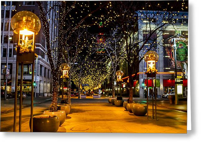 Downtown Denver At Christmas Greeting Card by Teri Virbickis