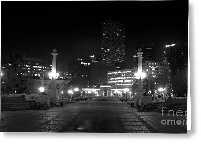 Night Lamp Greeting Cards - Downtown Denver Greeting Card by Steven Parker