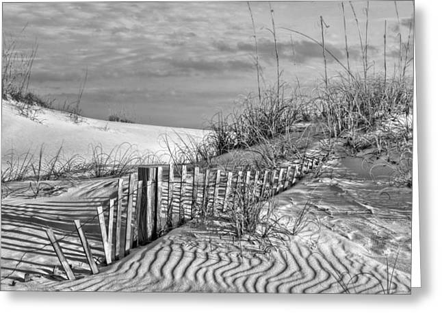 Florida Panhandle Greeting Cards - Downtown Destin BW Greeting Card by JC Findley