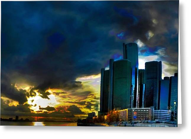 White River Scene Mixed Media Greeting Cards - Downtown Detroit at Dusk Greeting Card by  Fli Art
