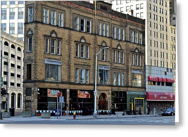 Osu Greeting Cards - Downtown Detroit Greeting Card by Frozen in Time Fine Art Photography