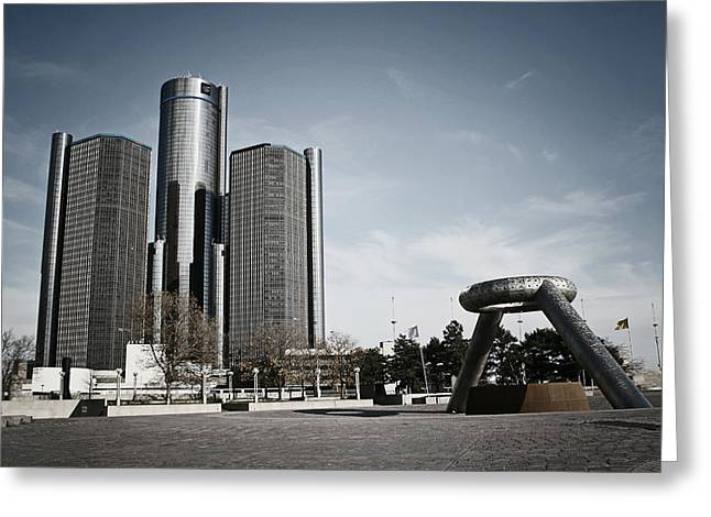 Best Sellers -  - Renaissance Center Greeting Cards - Downtown Detroit Greeting Card by Laura Kinker