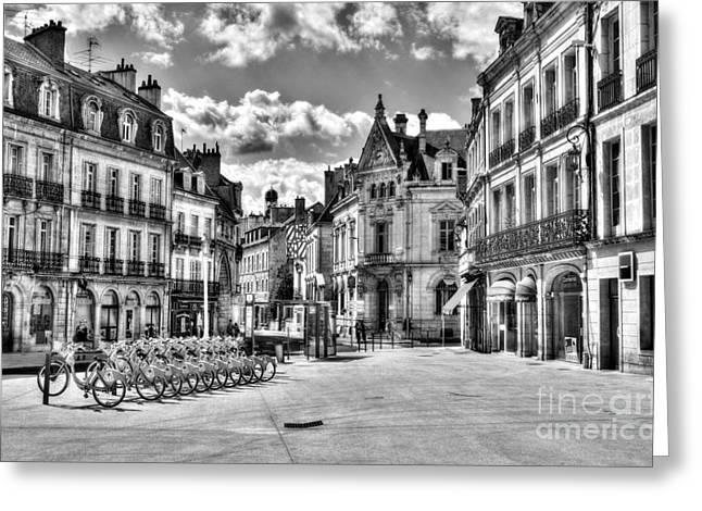 Dijon Greeting Cards - Downtown Dijon BW Greeting Card by Mel Steinhauer
