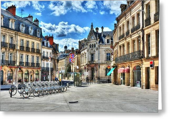 Dijon Greeting Cards - Downtown Dijon Greeting Card by Mel Steinhauer