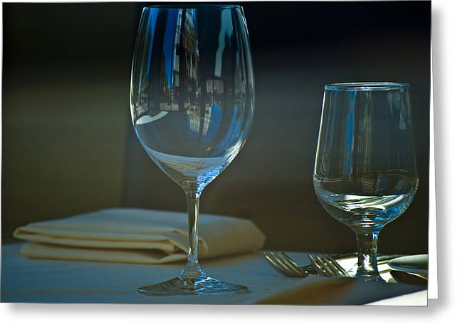 Wine Reflection Art Photographs Greeting Cards - Downtown Dining Greeting Card by Christi Kraft