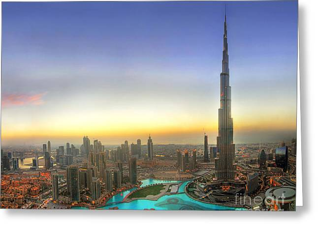 Birds Eye Greeting Cards - Downtown Dubai at Sunset Greeting Card by Lars Ruecker