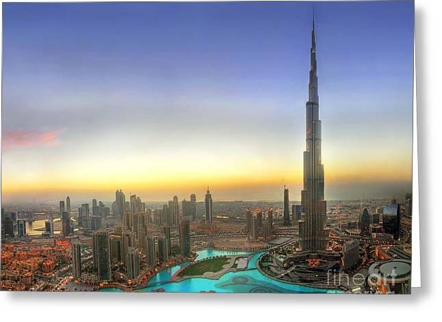 Dubai Greeting Cards - Downtown Dubai at Sunset Greeting Card by Lars Ruecker