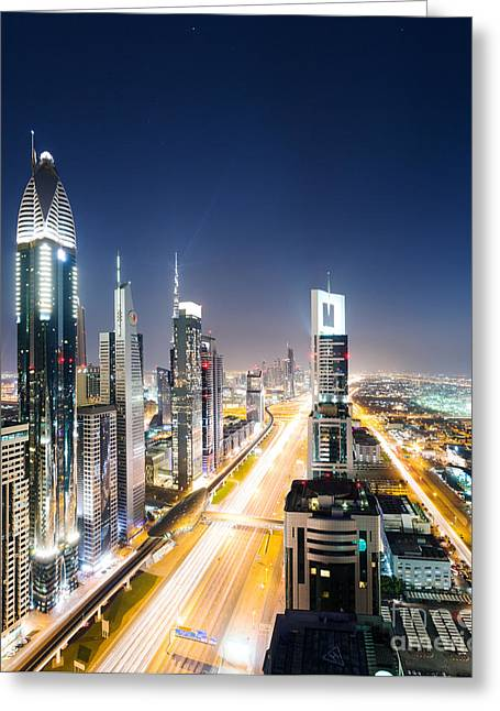 Sunset Posters Greeting Cards - Downtown Dubai Greeting Card by Matteo Colombo