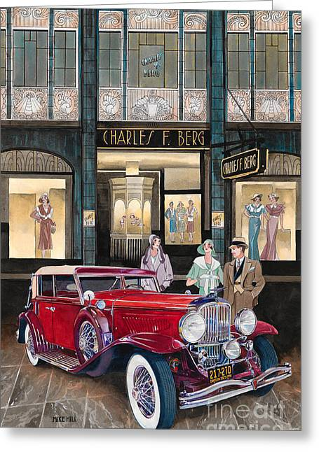 Department Stores Greeting Cards - Downtown Duesenberg 1931 Greeting Card by Mike Hill