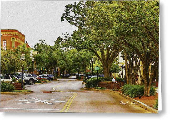 Townscape Digital Art Greeting Cards - Downtown Fernandina Beach Greeting Card by Barry Jones