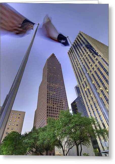 Skyline Photographs Greeting Cards - Downtown Flags Greeting Card by Tim Stanley