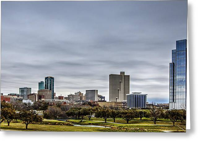 Fort River Greeting Cards - Downtown Fort Worth Trinity Trail Greeting Card by Jonathan Davison