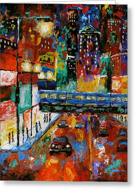 Gallery Wrap Paintings Greeting Cards - Downtown Friday Night Greeting Card by J Loren Reedy