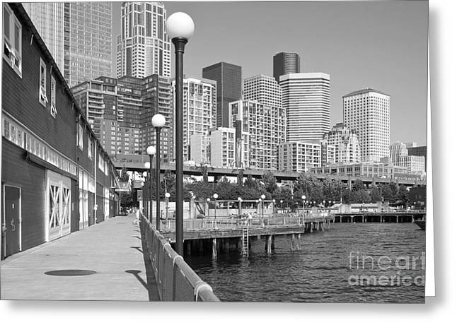 Alaskan Architecture Greeting Cards - Downtown from Seattle Aquarium Greeting Card by Bill Cobb