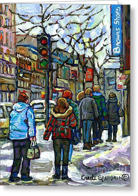 Ste Catherine Greeting Cards - Downtown Girl In Red Plaid Jacket Canadian Winter Scene Paintings Best Montreal Art For Sale  Greeting Card by Carole Spandau