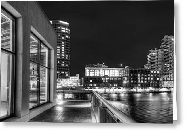 Grand River Greeting Cards - Downtown Grand Rapids in Black and White Greeting Card by Twenty Two North Photography