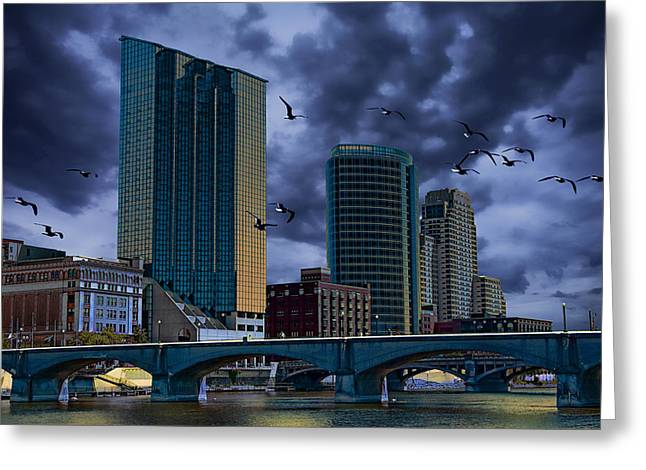 Flying Gull Greeting Cards - Downtown Grand Rapids Michigan by the Grand River with Gulls Greeting Card by Randall Nyhof