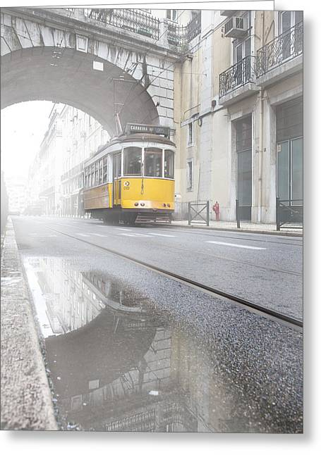 Tram Photographs Greeting Cards - Downtown haze Greeting Card by Jorge Maia