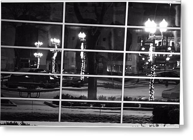 Streetlight Greeting Cards - Downtown Holiday Reflections Greeting Card by Dan Sproul
