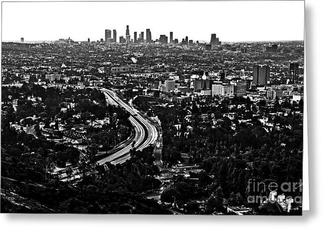 Los Angeles Freeways Greeting Cards - Downtown Hollywood Greeting Card by Art K