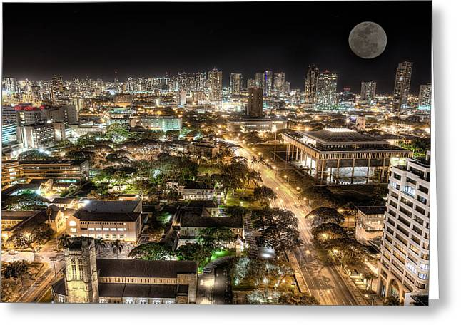Koolina Greeting Cards - Downtown Honolulu moonrise Greeting Card by Tin Lung Chao