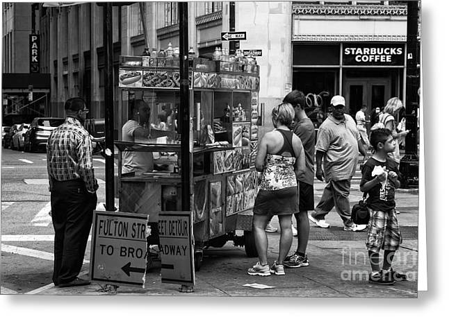 Hot Dog Stand Greeting Cards - Downtown Hot Dog mono Greeting Card by John Rizzuto