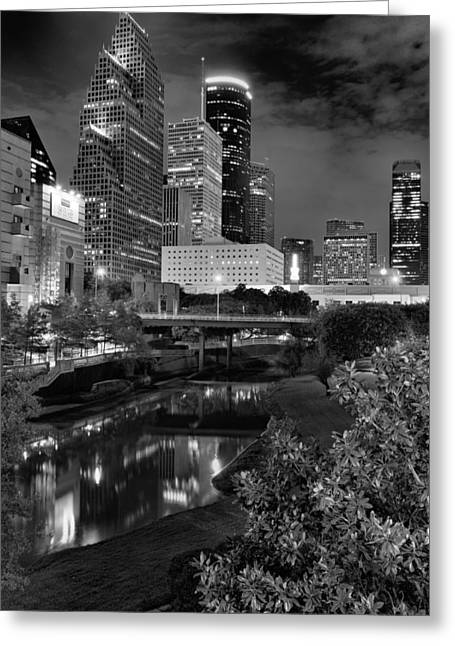 Downtown Franklin Greeting Cards - Downtown Houston at Night. Greeting Card by Silvio Ligutti