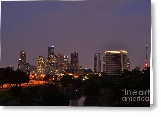 Downtown Houston Before Fireworks Greeting Card by Aaron Edrington