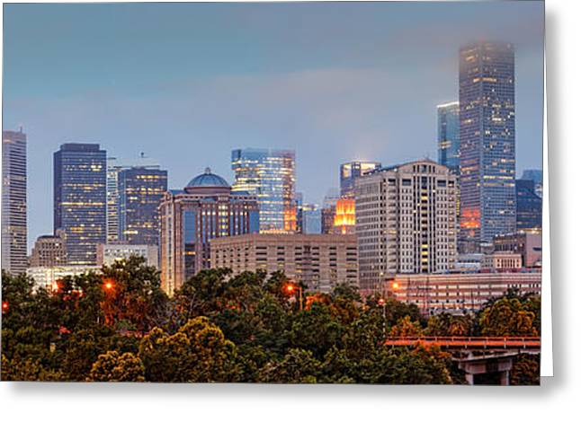 Masters Photographs Greeting Cards - Downtown Houston Panorama at Dawn Greeting Card by Silvio Ligutti