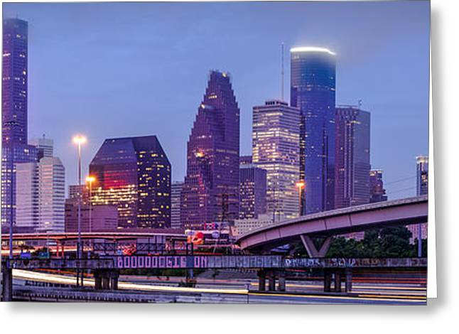 Masters Photographs Greeting Cards - Downtown Houston Panorama from Hogan Street Bridge - Houston Texas Greeting Card by Silvio Ligutti