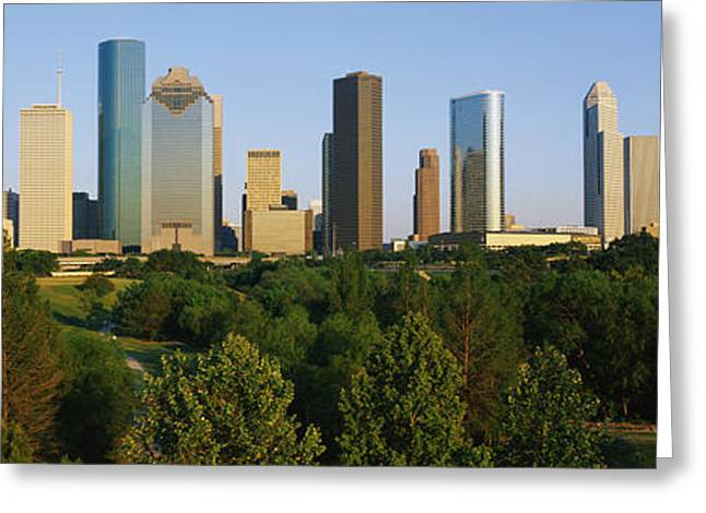 Lone Star State Greeting Cards - Downtown Houston Greeting Card by Panoramic Images