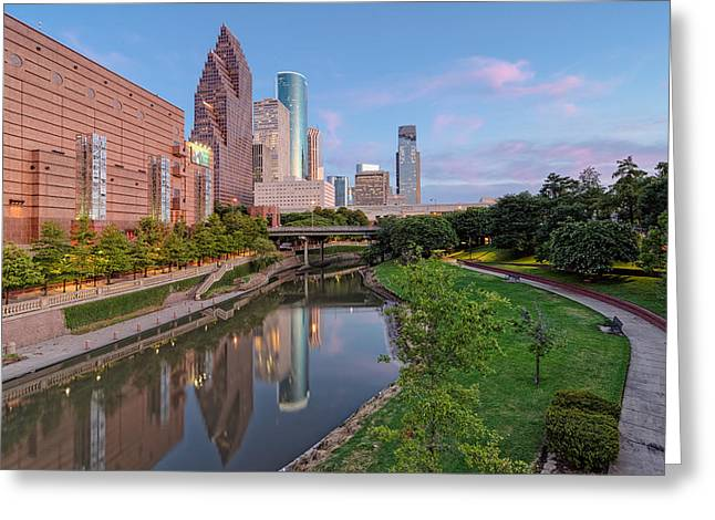 Bank Of America Greeting Cards - Downtown Houston Greeting Card by Silvio Ligutti