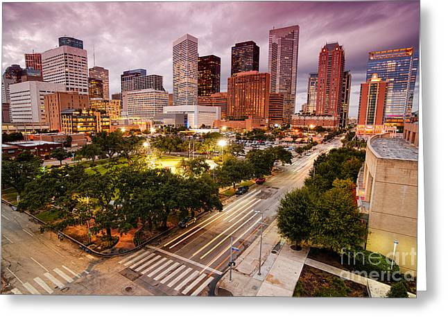 Texas Architecture Greeting Cards - Downtown Houston Skyline during Twilight Greeting Card by Silvio Ligutti