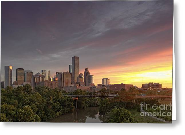 Seated Buffalo Greeting Cards - Downtown Houston Skyline Glorious Sunset Light Greeting Card by Silvio Ligutti